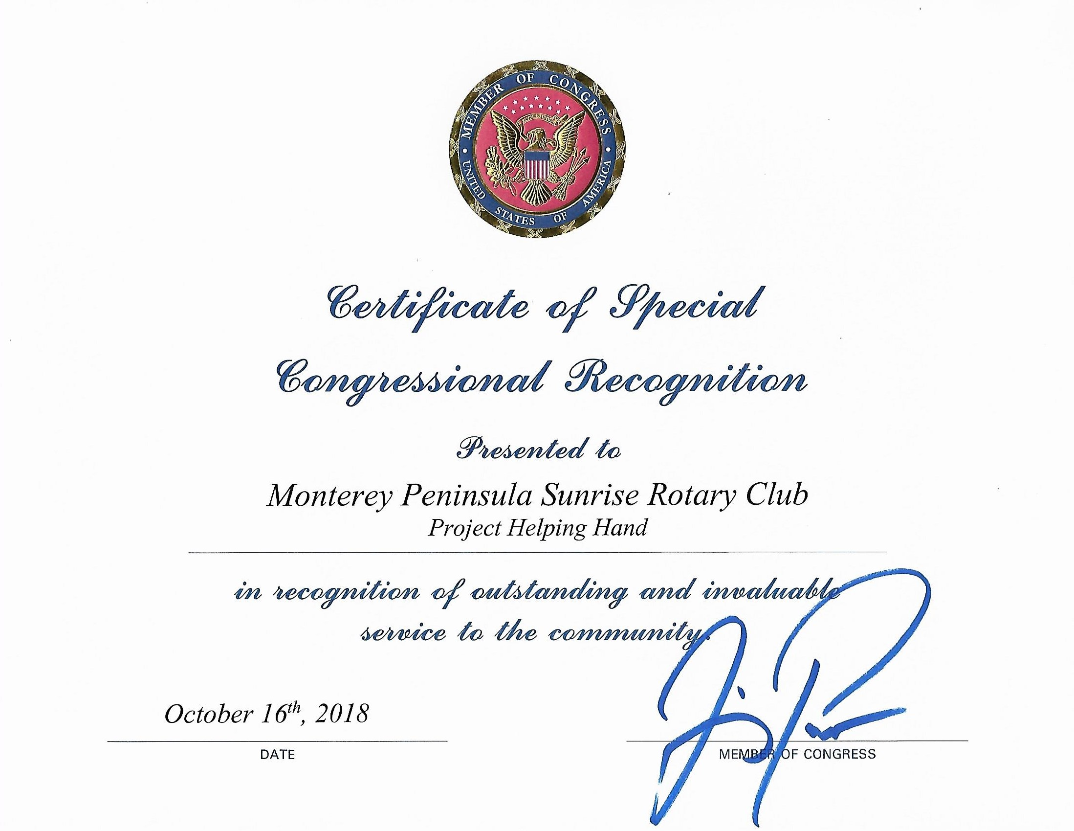 A Certificate of Special Congressional Recognition - October 2018
