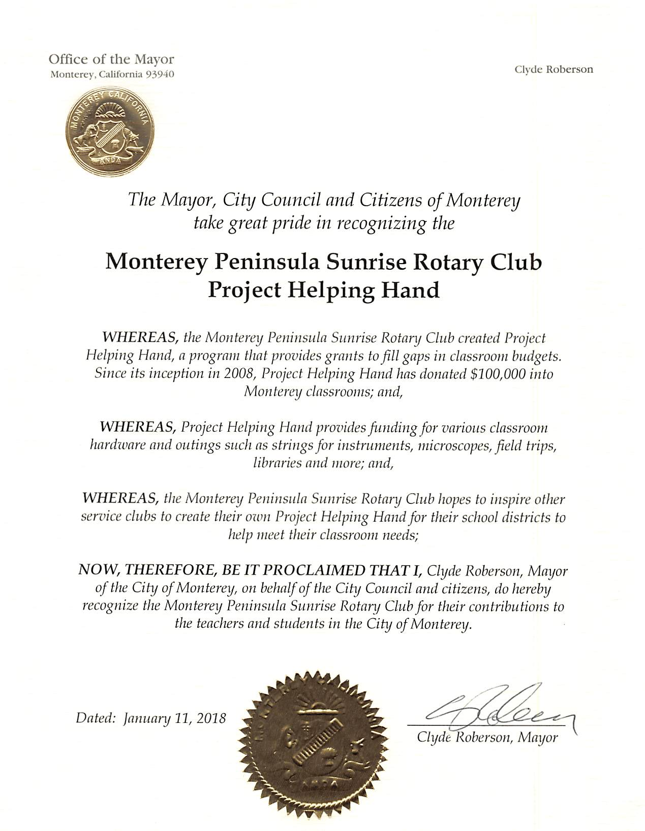 City of Monterey Recognizing Project Helping Hand - 1-11-2018